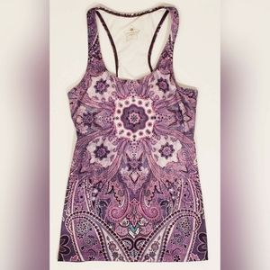 Pure Karma Racerback Tank With Built In Bra Purple